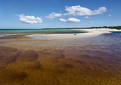 Sandy beach in Vääna-Jõesuu river mouth, Harju county, Estonia, Europe. Baltic sea.