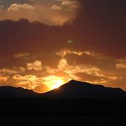 Sunset over the mountains of Lake Havasu City, Arizona.