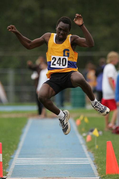 Brian Okeny competing in the long jump at the 2007 Ontario Legion Track and Field Championships. The event was held in Ottawa on July 20 and 21.