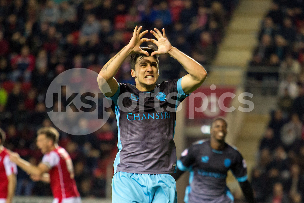 Fernando Forestieri of Sheffield Wednesday celebrates his goal during the Sky Bet Championship match between Rotherham United and Sheffield Wednesday at the Aesseal New York Stadium, Rotherham, England on 23 October 2015. Photo by James Williamson.