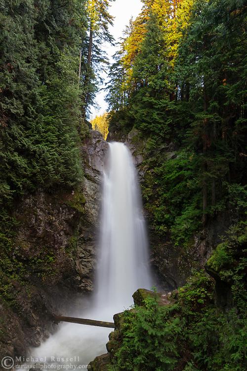 Cascade Falls as seen from the first viewing platform in Cascade Falls Regional Park near Durieu, British Columbia, Canada