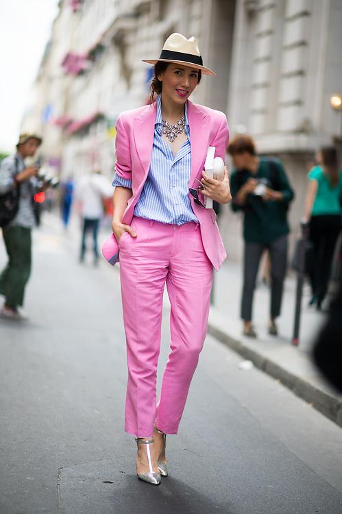 Pink Pantsuit, Outside Ulyaana Sergeenko Couture