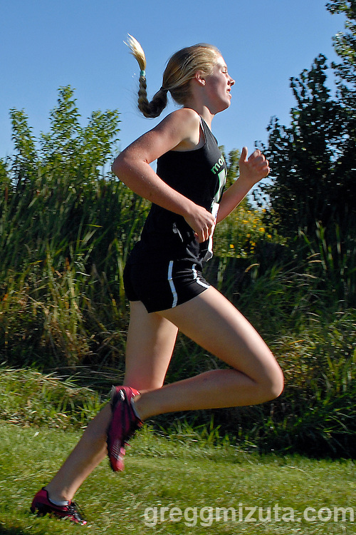 Mountain View freshman Sam McKinnon during the NNU Invite at West Park in Nampa, ID on September 11, 2010. McKinnon was one of seven Mountain View girls to finish in the top ten. She finished in sixth place with a time of 19:06.10.