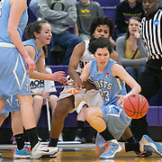 03/21/2014- Stevens Point, Wisc. - Tufts guard Hannah Foley, E15, dives for a loose ball with FDU-Florham's Delisha Thompson in the Jumbos' 42-39 loss to the Devils in the NCAA Division III Women's Final Four at Quandt Fieldhouse on Mar. 21, 2014. (Kelvin Ma/Tufts University)