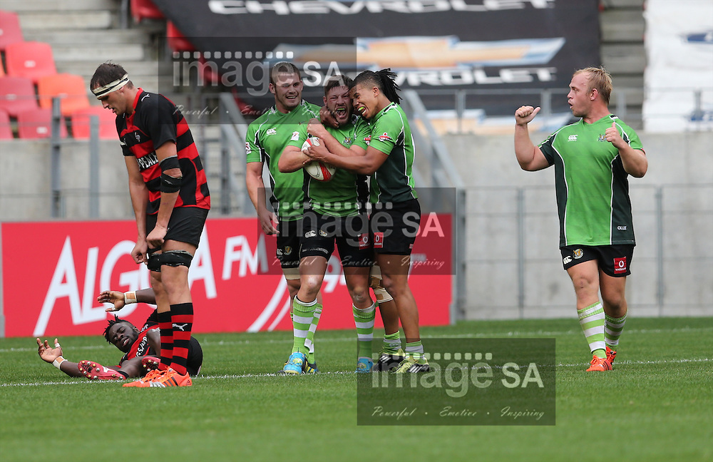 PORT ELIZABETH, SOUTH AFRICA - Saturday 25 April 2015, team mates congratulate Dwayne Kelly of SWD Eagles on his try during the Vodacom Cup rugby match between Eastern Province Kings and SWD Eagles at the Nelson Mandela Bay stadium. <br /> Photo by Richard Huggard/ImageSA/SARU