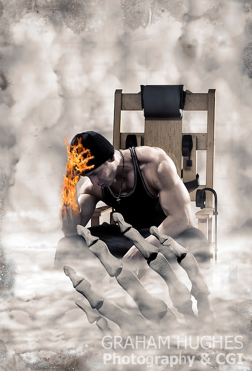 Man sat in electric chair with burning skeletal hand. Grim Reapers hand reaching up out of mist towards him.
