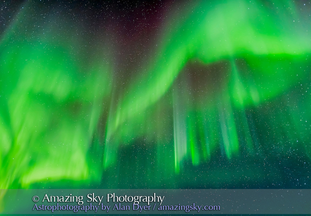 The Northern Lights, or aurora borealis, on the night of March 4/5, 2016 as seen and shot from the Churchill Northern Studies Centre near Churchill, Manitoba. This night the display got active only after 12:30, after being completely absent from the sky for the first half of the night and a Kp Index level of 0. This image shows a fine collection of auroral curtains with subtle shades of green and cyan.