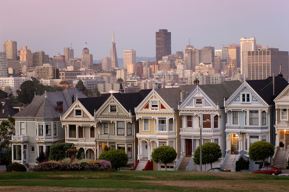 The Pink Ladys, Victorian Houses, Alamo Square, San Francisco, California, United States of America