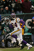 16 Jan 2005:Randy Moss of the Minnesota Vikings looks back for a pass during the Philadelphia Eagles 27-14 victory over the Minnesota Vikings at Lincoln Financial Field in Philadelphia, PA. <br /> <br /> Mandatory Credit:Todd Bauders/ContrastPhotography.com