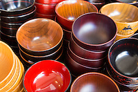 Kappabashi Wooden and Lacquer Bowls - Kappabashi is a street in Asakusa devoted to shops supplying the kitchen and restaurant trade. These shops sell everything from knives, restaurant decorations, tableware, glassware - you name it.  It is most famous for its plastic display food samples found in Japanese restaurants to display their menus. The street has also become an offbeat tourist destination thanks to the wacky displays and unique items found only in Japan.