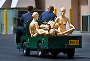 Mannequins are carted past the MGM Conference Center adjacent to the MGM Grand Casino in Las Vegas, Nevada.