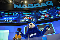 "The Charmin Bear gets ready to ring the NASDAQ closing bell as part of Ad Week's ""Walk of Great Icons"" event in NYC September 23, 2013. ""/ Russ DeSantis / AP Images for"
