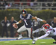 Ole Miss quarterback Randall Mackey (1) eludes Louisiana Tech's Shakeil Lucas (54) in Oxford, Miss. on Saturday, November 12, 2011.