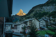 Sunrise on the Matterhorn, seen from City Hotel Garni Zermatt, Pennine Alps, Switzerland, Europe.