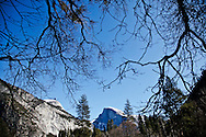 Winter scenes in Yosemite Valley located in the Yosemite National Park..A view of Half Dome from the Valley Floor..