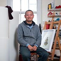 UK. London. Tibetan artist Gonkar Gyatso in his studio in Bethnal Green, East London..Photos ©Steve Forrest