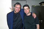 Comedians Lewis Black-left and Adam Ferrara performed at The Gerry Red Wilson Found. Comedy Benefit to raise awareness for Spiral Meningitis at the Town Hall in New York City on June 11, 2002 as part of the Toyota Comedy Series.<br /> photo by Jen Lombardo/PictureGroup
