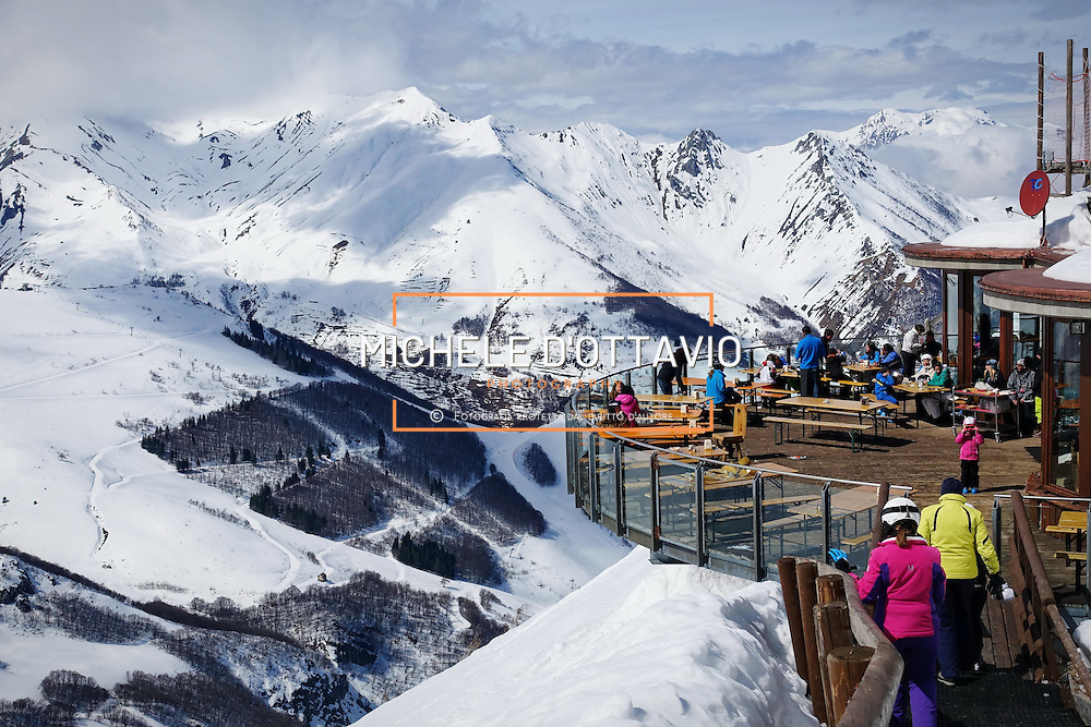 Limone Piemonte, Italy - March 21, 2016: a panoramic terrace on the ski slopes in the resort town of Limone Piemonte in Italy.