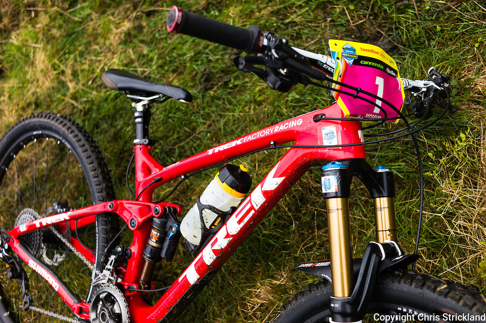 Glentress, Peebles, Scotland, UK. 31st May 2015.  The bike of winning rider Tracy Mosley of Trek Factory Facing at The Enduro World Series Round 3 taking place on the iconic 7Stanes trails during Tweedlove Festival.