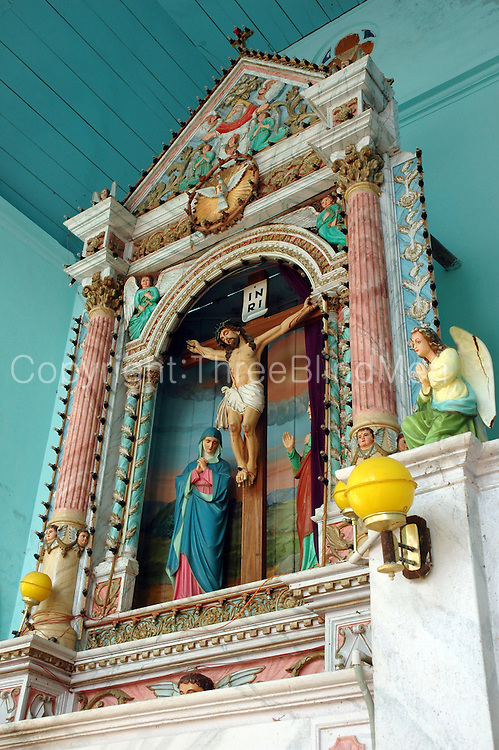 Detail from altar of a Catholic Church in Kanyakumari. South India.