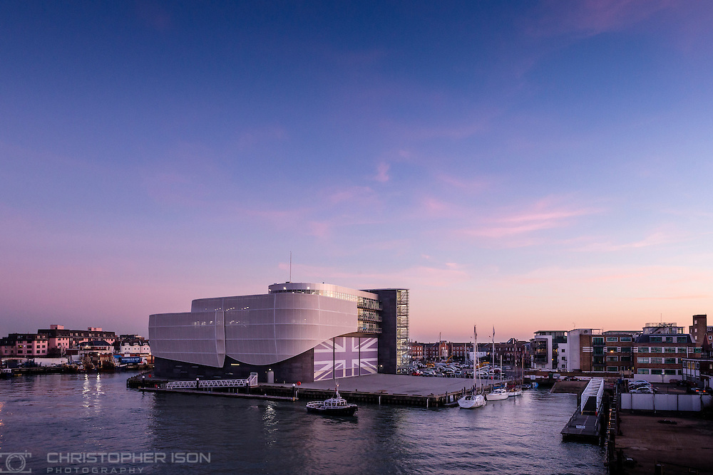 Sir Ben Ainslie's Land Rover BAR America's Cup base in Old Portsmouth Harbour as seen from the sea.<br /> Picture date: Thursday January 19, 2017.<br /> Photograph by Christopher Ison &copy;<br /> 07544044177<br /> chris@christopherison.com<br /> www.christopherison.com