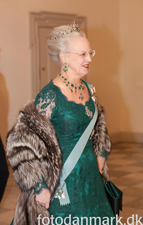 On the occasion of Queen Margrethe's 40-year jubilee, the royal couple gave a dinner for the diplomatic corps on 1 February 2012 at Christiansborg Palace.