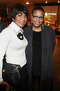 l to r: Joycelyn Taylor and Terrie Williams at The 84th Birthday Celebration for Malcolm X and the Memorializing and Marking, for the First Time, the Location in Audubon Ballroom Where He Was Martyred in 1965.