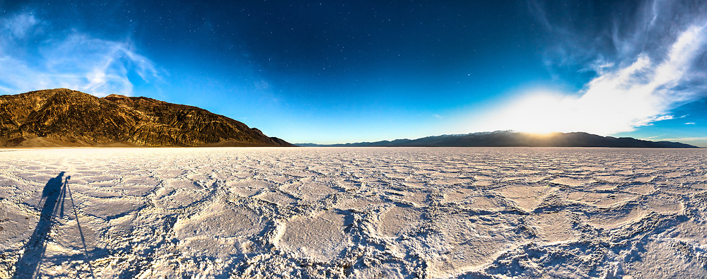 """""""Badwater Basin at Night 4"""" - Stitched panoramic predawn photograph of the Badwater Basin salt flat in Death Valley, California. The Milky Way can be seen in the sky."""