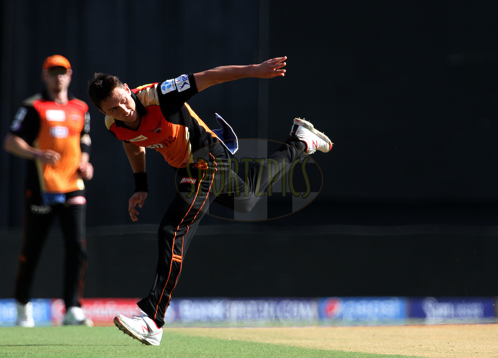 Sunrisers Hyderabad player Trent Boult fields during match 23 of the Pepsi IPL 2015 (Indian Premier League) between The Mumbai Indians and The Sunrisers Hyderabad held at the Wankhede Stadium in Mumbai India on the 25th April 2015.<br /> <br /> Photo by:  Vipin Pawar / SPORTZPICS / IPL