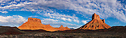 A panoramic view of the towering buttes of Castle Valley, Utah.