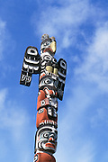 Totem pole in Thunderbird Park, Victoria, Vancouver Island, British Columbia, Canada.