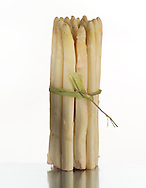 A bunch of white asparagus tied