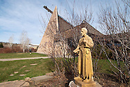 Saint Labre Indian School, founded 1884, statue of Saint Benedict Joseph Labre, Ashland, Montana
