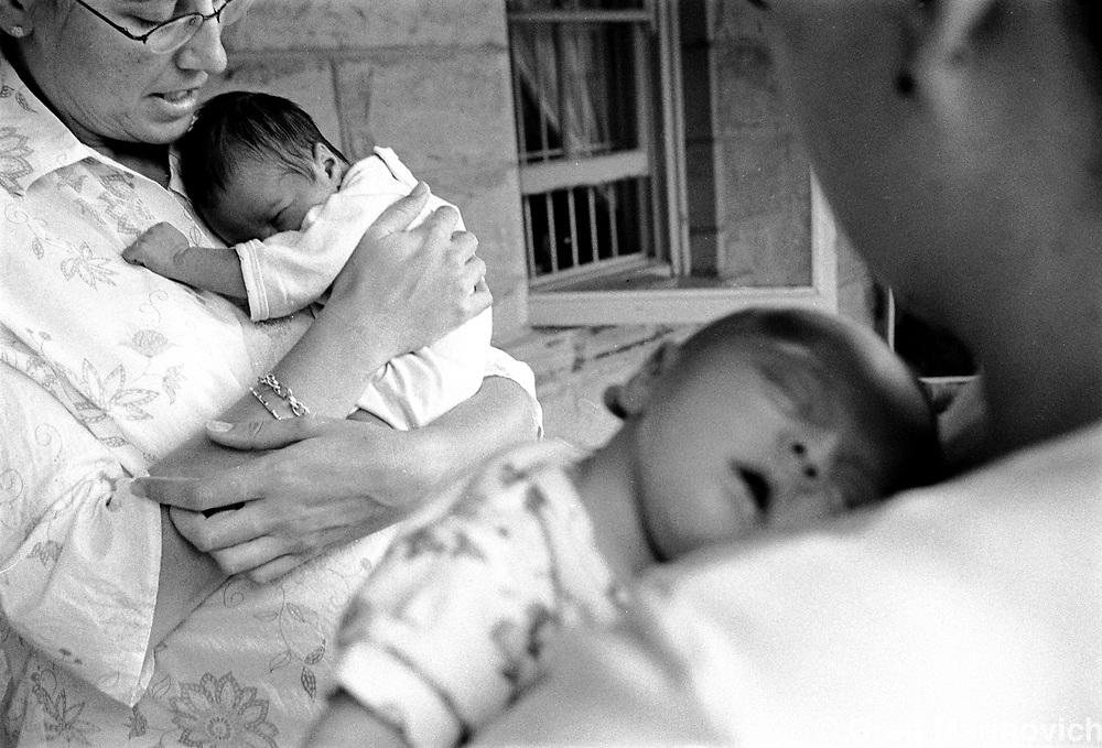 Leonie Marinovich left with son luc, and Viv Silva right with daughter Isabel. Jakkalsfontein, Ficksburg