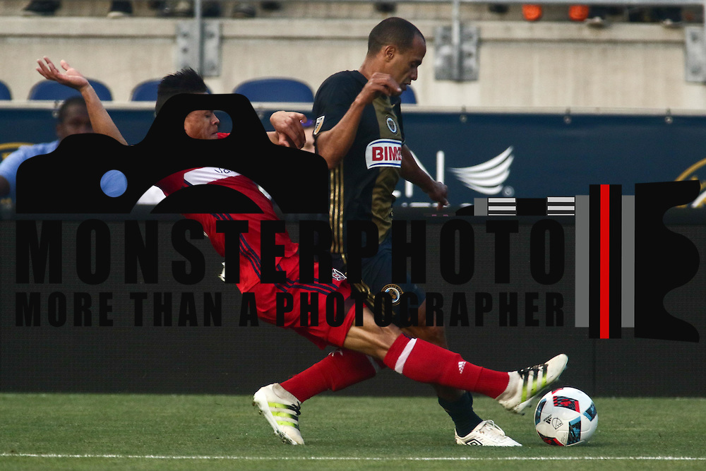 Philadelphia Union Defender FABIO ALVES (33) dibbles down the field as Chicago Fire Defender RODRIGO RAMOS (13) defends in the second half of a Major League Soccer match between the Philadelphia Union and Chicago Fire Wednesday, June. 22, 2016 at Talen Energy Stadium in Chester, PA.