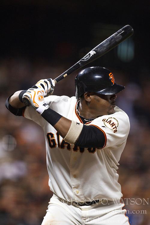 September 14, 2010; San Francisco, CA, USA;  San Francisco Giants shortstop Juan Uribe (5) at bat against the Los Angeles Dodgers during the second inning at AT&T Park. Los Angeles defeated San Francisco 1-0.