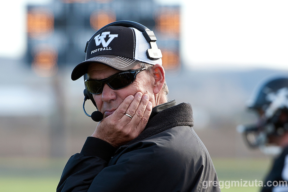 Vale coach Rick Yraguen in the fourth quarter of the Vale - Cascade Christian 3A quarterfinal playoff game at Frank Hawley Stadium, Vale, Oregon, Saturday, November 14, 2015. Vale won 48-38.