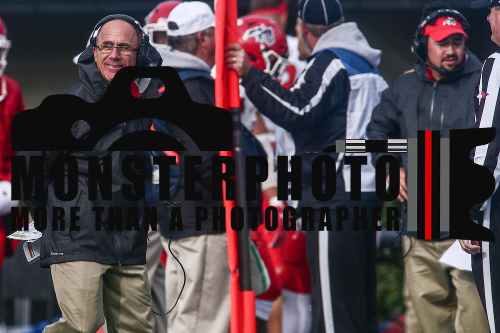 Stony Brook football coach CHUCK PRIORE smiles while watching the game from the sideline in the fourth quarter of a week eight game between the Delaware Blue Hens and the Stony Brook Seawolves, Saturday, Oct. 22, 2016 at Tubby Raymond Field at Delaware Stadium in Newark, DE.