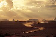 Utah, Arizona, Navajo Nation, Monument Valley, dirt road & Pickup Truck