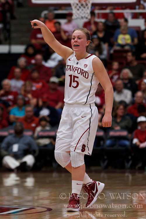 Nov 13, 2011; Stanford CA, USA;  Stanford Cardinal guard Lindy La Rocque (15) stands in the back court before a free throw against the Gonzaga Bulldogs during the first half at Maples Pavilion.  Stanford defeated Gonzaga 76-61. Mandatory Credit: Jason O. Watson-US PRESSWIRE