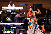 """Greg Phillinganes, Herbie Hancock and India.Arie at Herbie Hancock's """"Seven Decades: The Birthday Celebration"""" at Carnegie Hall. June 24, 2010"""