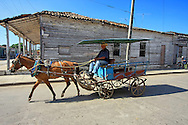 Horse and wagon in Cruces, Cienfuegos Province, Cuba.
