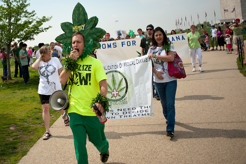 HENRY HEMP aka MAGIC ELLINGSON leads a march in Washington D.C. to legalize cannabis. About 100 grassroots activists called Overgrow The Government, joined together for a protest march in Washington D.C. to demand an end to cannabis prohibition. The group marched from the Washington Monument to Lafayette Park behind the White House.