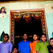Entrance of a small house converted into church for the occasion in the village of Vikrangad, Mumbai