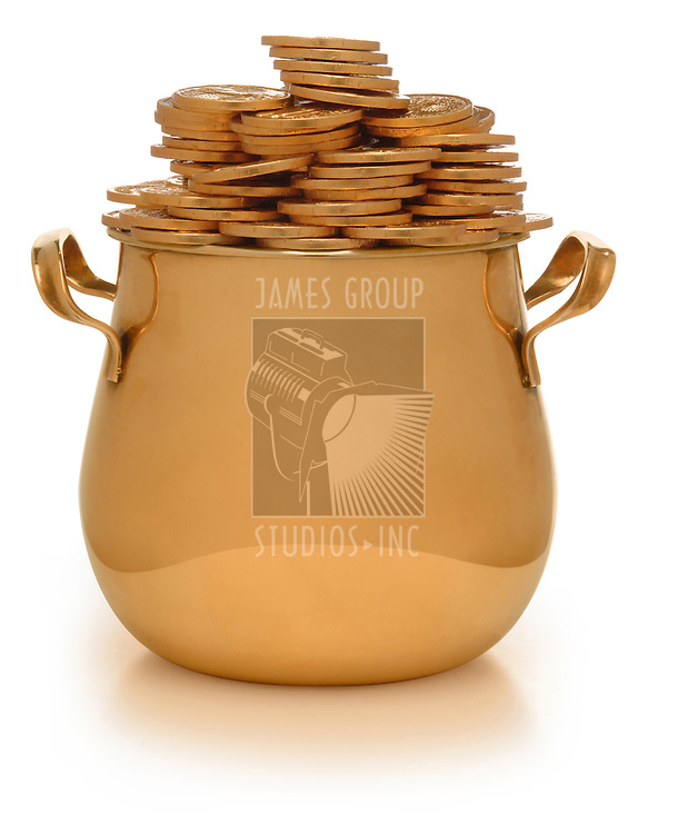 gold pot with gold coins on white