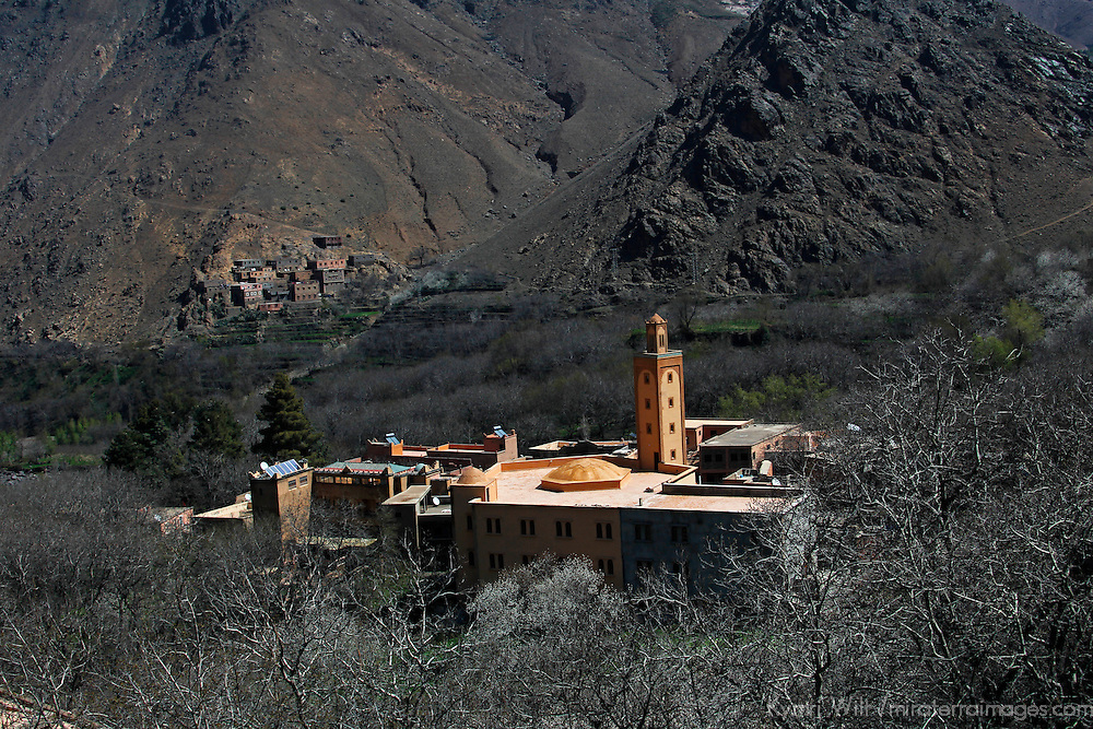 Africa, Morocco, Imlil. Mosque and village in Atlas Mountains.