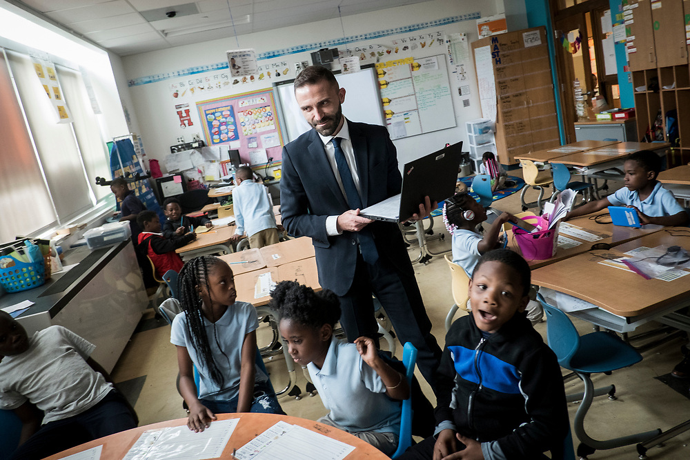 Eric Christopher, Leap ELA Instructional Coach at Turner Elementary School in Washington, D.C., monitors a class on Wednesday, May 4, 2017.