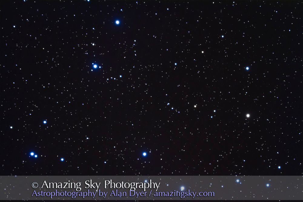 Coma Berenices star cluster aka Melotte 111. This is a stack of 4 x 6 minute exposures at ISO 1600 with the Canon 7D on the TMB 92mm apo refractor with Borg 0.85x reducer/flattener for f/4.5. Taken on a slightly hazy night, April 22, 2011 using AP 600E mount and SG4 autoguider.