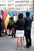 Frankfurt am Main   21 Apr 2015<br /> <br /> Am Dienstag (21.04.2015) hielt die rassistische und islamfeindliche Gruppe PEGIDA (Patriotische Europ&auml;er gegen die Islamisierung des Abendlandes) an der Hauotwache neben der Katharinenkirche in Frankfurt am Main eine Mahnwache unter dem Motto &quot;Wir sind wieder da&quot; ab. Die Kundgebung war wie immer mit Hamburger Gittern abgesperrt und von starken Polizeikr&auml;ften bewacht. Etwa 1000 Menschen nahmen an den Gegenprotesten teil.<br /> Hier: Teilnehmer der PEGIDA-Kundgebung mit Kapuzen.<br /> <br /> &copy;peter-juelich.com<br /> <br /> [Foto Honorarpflichtig   No Model Release   No Property Release]