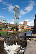Beetham Tower above a canal, Manchester, England